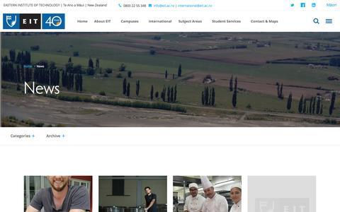 Screenshot of Press Page eit.ac.nz - EIT news, news at EIT, EIT blog | EIT Hawke's Bay and Tair�whiti - captured Oct. 19, 2016