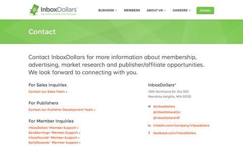 Screenshot of Contact Page inboxdollars.com - Contact - captured Sept. 18, 2014
