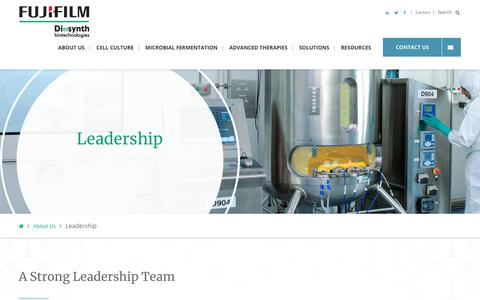 Screenshot of Team Page fujifilmdiosynth.com - Leadership Team | FUJIFILM Diosynth Biotechnologies - captured Feb. 22, 2020