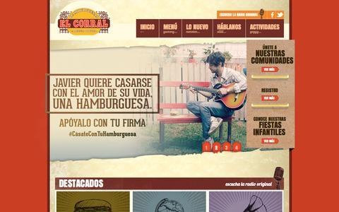 Screenshot of Home Page elcorral.com - Hamburguesas El Corral - La receta original - captured Sept. 19, 2014