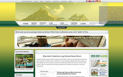 Screenshot of Press Page mountaincreations.com - Log Home News & Events - Mountain Creations Log Homes - captured Oct. 26, 2014