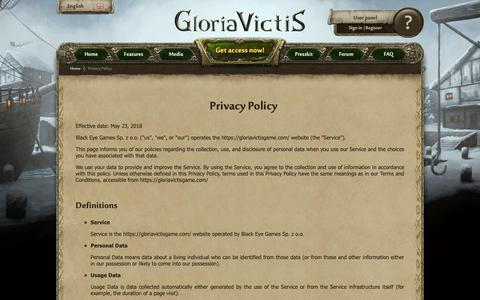Screenshot of Privacy Page gloriavictisgame.com - Gloria Victis :: Privacy Policy - captured Oct. 6, 2018