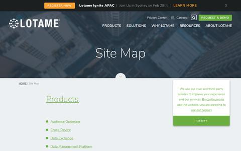 Screenshot of Site Map Page lotame.com - Site Map | LOTAME - captured Feb. 3, 2019