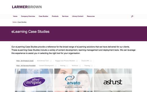 Screenshot of Case Studies Page larmerbrown.com - eLearning Case Studies - Larmer Brown - captured Oct. 25, 2016