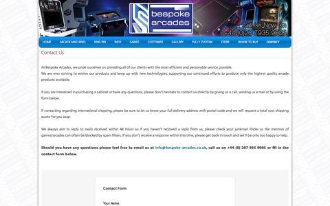 Screenshot of Contact Page bespoke-arcades.co.uk - Arcade Machines custom-built for you! | Bespoke Arcades - captured Aug. 1, 2018