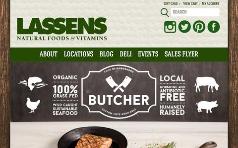 Screenshot of Home Page lassens.com - LASSENS | NATURAL FOODS & VITAMINS - captured Feb. 29, 2016