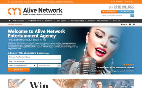 Screenshot of Home Page alivenetwork.com - Alive Network | Live Music Entertainment Agency Bands for Hire - captured Nov. 8, 2017