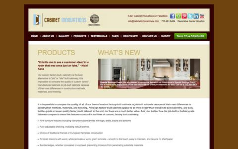 Screenshot of Products Page cabinetinnovationstx.com - Custom Factory-Built Cabinets -- Cabinet Innovations Houston TXCabinet Innovations - captured Oct. 1, 2014