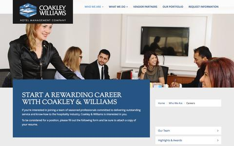 Screenshot of Jobs Page cwhotels.com - Careers at Coakley Williams Hotel Management Company - captured Nov. 8, 2016