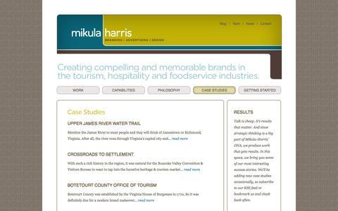 Screenshot of Case Studies Page mikulaharris.com - Mikula|Harris - Case Studies - captured Dec. 1, 2016