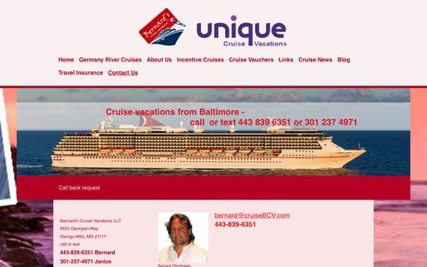 Screenshot of Contact Page cruisebcv.com - Bernard's Cruise Vacations from Baltimore to the Caribbean - Contact Us - captured Oct. 5, 2018