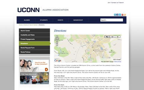 Screenshot of Maps & Directions Page uconnalumni.com - Directions - captured Oct. 3, 2014