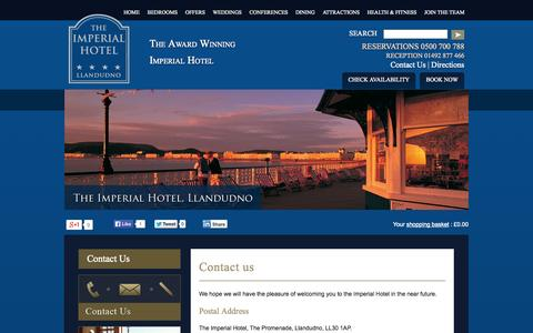 Screenshot of Contact Page Maps & Directions Page theimperial.co.uk - Contact Us | The Imperial Hotel | Llandudno, North Wales - captured Oct. 26, 2014