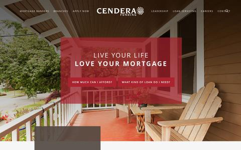 Screenshot of Home Page cenderafunding.com - Cendera Funding | Fort Worth TX | Live Your Life | Love your Mortgage - captured May 15, 2017