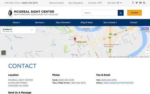 Screenshot of Contact Page sightcenter.org - Contact the New Hampshire Association for the Blind - captured Nov. 29, 2016