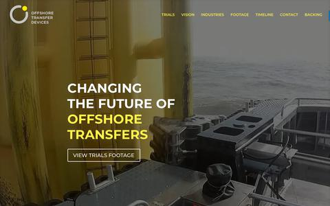 Screenshot of Home Page offshoretransferdevices.com - Offshore Transfer Devices   Tube Docking Device - Access System - captured Oct. 19, 2018