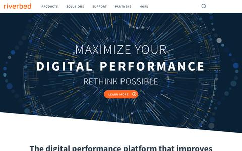 Screenshot of Home Page riverbed.com - Maximize your Digital Performance & Gain a Competitive Edge - captured March 16, 2018