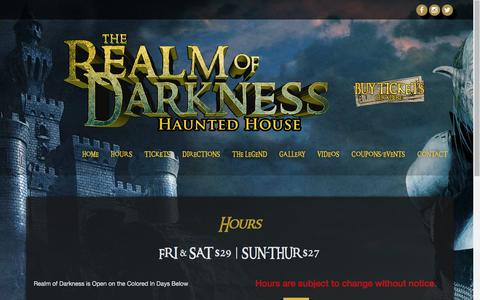 Screenshot of Hours Page therealmofdarkness.com - The Realm of Darkness Hours - Michigan Haunted House - captured April 11, 2017