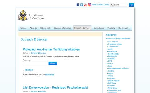 Screenshot of Services Page rcav.org - Outreach & Services Archives - Roman Catholic Archdiocese of Vancouver - captured Sept. 23, 2018
