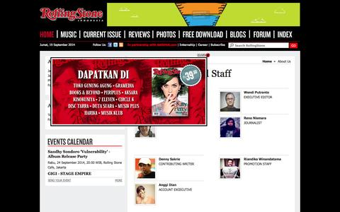 Screenshot of About Page rollingstone.co.id - RollingStone Indonesia | Music News, Reviews, Photos, Videos, Interviews and More - captured Sept. 19, 2014