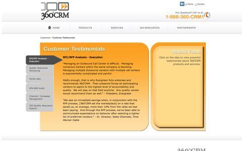 Screenshot of Testimonials Page 360crm.net - Customer Testimonials - 360'CRM - captured Aug. 17, 2016