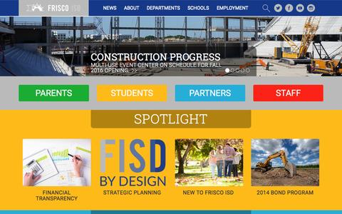 Screenshot of Home Page friscoisd.org - Frisco Independent School District - Home - captured Aug. 3, 2015