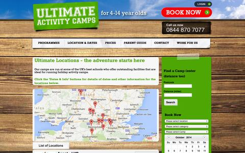 Screenshot of Locations Page ultimateactivity.co.uk - Holiday activity day camps | outstanding school locations » Ultimate Activity Camps - captured Oct. 1, 2014