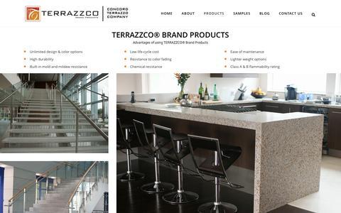 Screenshot of Products Page terrazzco.com - TERRAZZCO® Brand Products: Epoxy Resins, Precast, Aggregates - captured Dec. 22, 2016