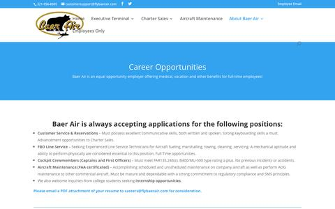 Screenshot of Jobs Page flybaerair.com - Career Opportunities - Baer Air - captured Nov. 22, 2016