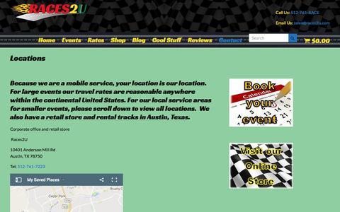 Screenshot of Locations Page races2u.com - Slot car racing locations - captured June 18, 2017