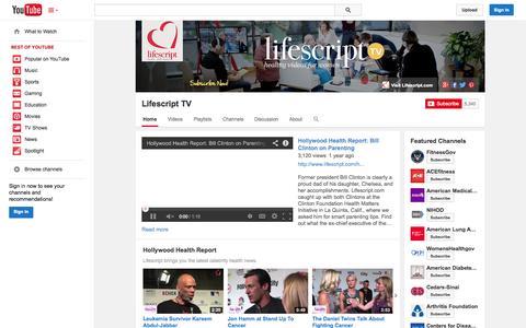 Screenshot of YouTube Page youtube.com - Lifescript TV  - YouTube - captured Oct. 28, 2014