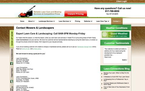 Screenshot of Contact Page lawnconnections.com - Contact Landscaping Service-Lawn Care-Lawn Mowing Southlake TX - captured Nov. 1, 2016