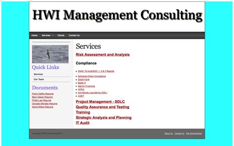 Screenshot of Services Page hwiconsulting.com - Services - captured Oct. 1, 2014