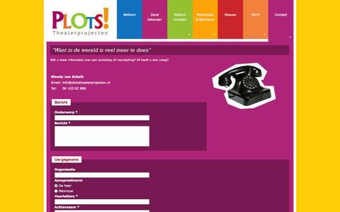 Screenshot of Contact Page plotstheaterprojecten.nl - Want in de wereld is veel meer te doen | Plots theaterprojecten - captured Sept. 30, 2014