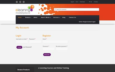 Screenshot of Login Page elearningmarketplace.co.uk - Buy e-Learning Courses | Online Courses | Online Training | eLearning Marketplace - captured Oct. 2, 2014