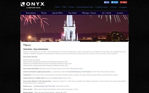 Screenshot of Press Page onyxhotel.com - Hotel News | Boston Hotels | Onyx Hotel, a Kimpton Boutique Hotel - captured Oct. 26, 2014