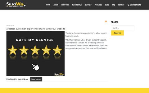 Screenshot of Support Page selectweb.co.za - Displaying items by tag: customer service - We Make Websites Work - captured Oct. 20, 2018