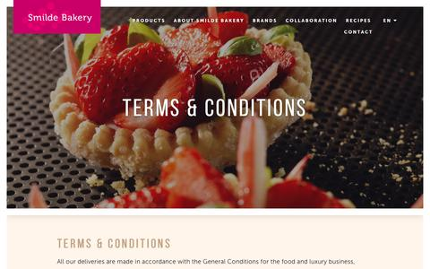 Screenshot of Terms Page smildebakery.com - Terms & Conditions - Smilde Bakery - captured Aug. 14, 2016