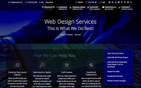 Screenshot of Services Page calicotek.com - Services - CaliCoTek - captured Dec. 6, 2015