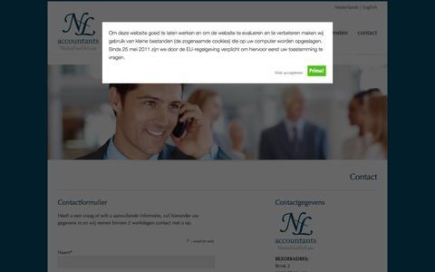 Screenshot of Contact Page nlaccountants.nl - NielenVanDeLaar accountants – Contact opnemen | NielenVanDeLaar accountants - captured Oct. 26, 2014