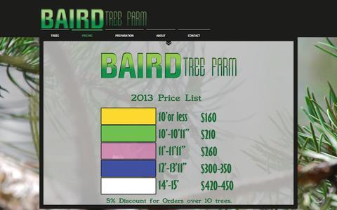 Screenshot of Pricing Page bairdtreefarm.com - Baird Tree Farm | PRICING - captured May 10, 2017