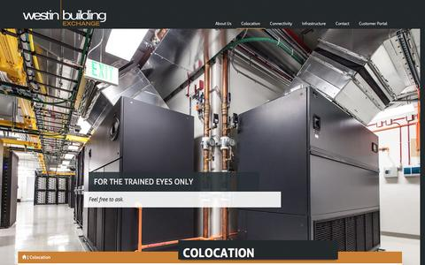 Screenshot of Services Page westinbldg.com - Colocation Services - Westin Building - captured Feb. 28, 2016