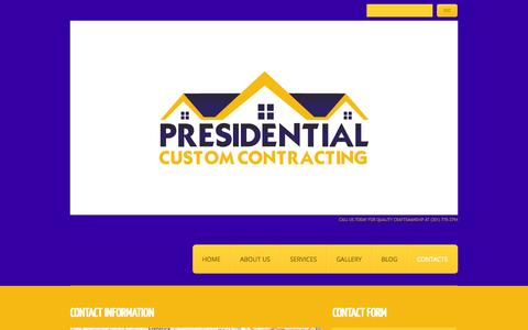 Screenshot of Contact Page Jobs Page presidentialcontractors.com - Contacts  |  Presidential Custom Contracting, LLC - captured Oct. 23, 2014