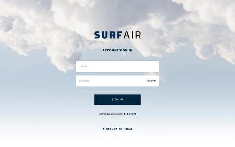 Screenshot of Login Page surfair.com - Login - Surf Air - captured Feb. 13, 2018