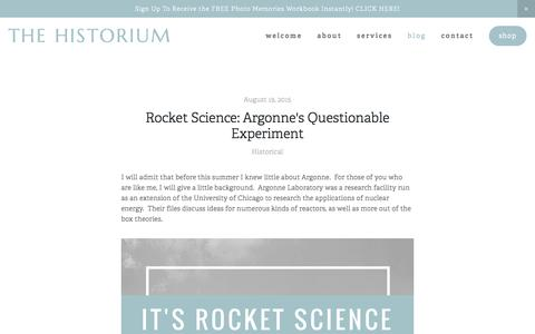 Screenshot of Blog thehistorium.com - Blog — The Historium - captured Feb. 25, 2016