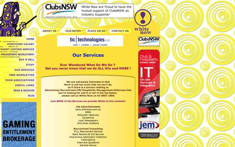 Screenshot of Services Page whitenow.com.au - Our Services ! - captured Aug. 18, 2016