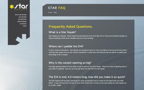 Screenshot of FAQ Page starkayaks.com - FAQ - Innovative Kayaks, Sea & River, NZ made | Star Kayaks - captured Jan. 12, 2016