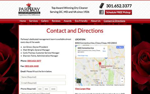 Screenshot of Maps & Directions Page parkwaydrycleaning.com - Parkway Dry Cleaning - 8402 Connecticut Ave, Chevy Chase, MD - captured July 14, 2017