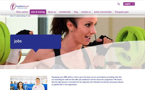 Screenshot of Jobs Page freedom-leisure.co.uk - Freedom Leisure Jobs | Sports Jobs | Fitness Careers - captured Nov. 6, 2018