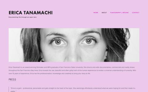 Screenshot of About Page ericajanefilms.com - About — Erica Tanamachi - captured Dec. 8, 2018